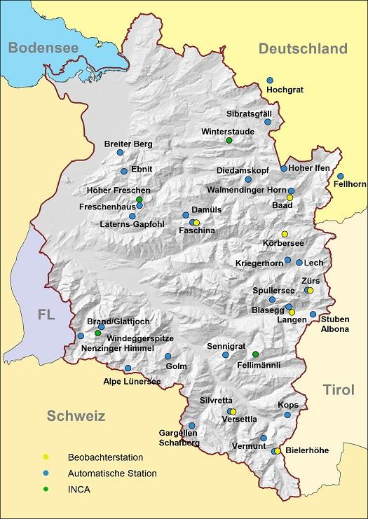 Vorarlberg Karte Berge.Land Vorarlberg Lawinenwarndienst